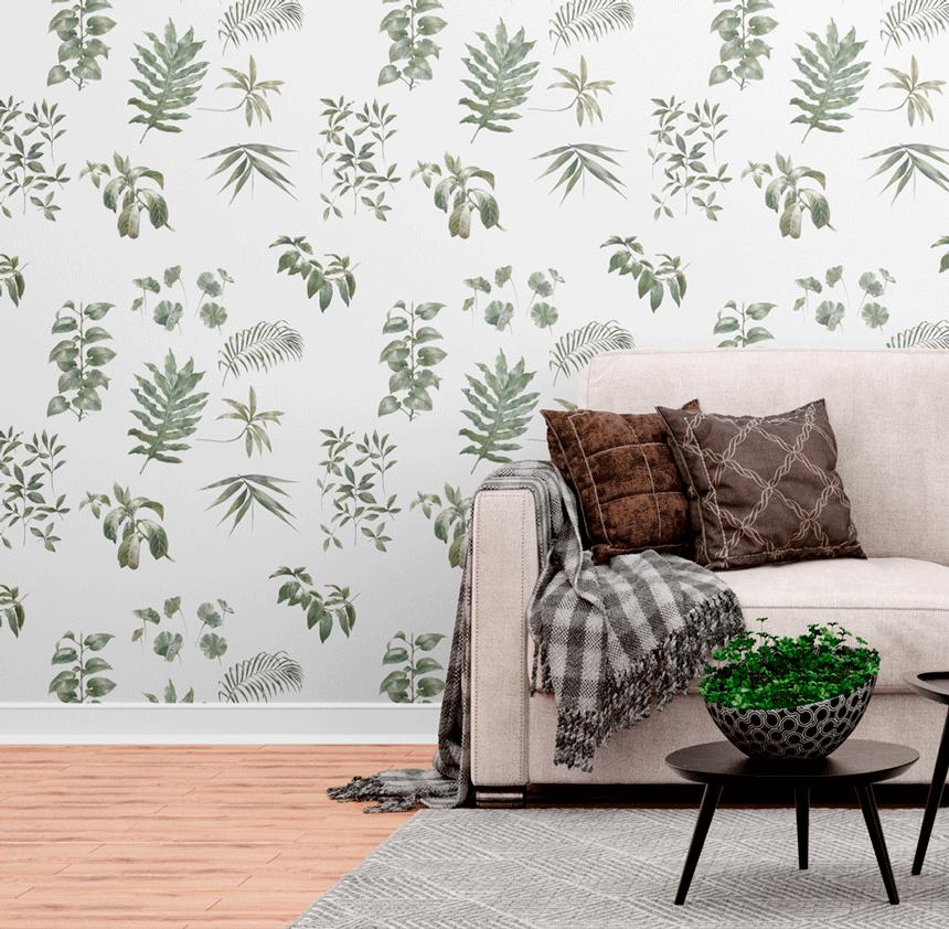 Papel de Parede Botânico - Plantas da Casa