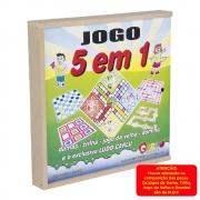 Jogo 5 Em 1 Dama-Dominó-Trilha-Velha-Ludo