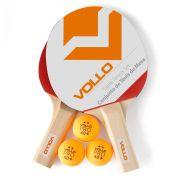 Kit Tênis de Mesa Vollo com 2 Raquete e 3 Bolinhas