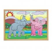 Quebra-Cabeca Casal Elefantes 4 Pc 30 X 23 Cm