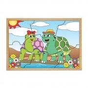 Quebra-Cabeca Casal Tartarugas 7 Pc 30 X 23 Cm