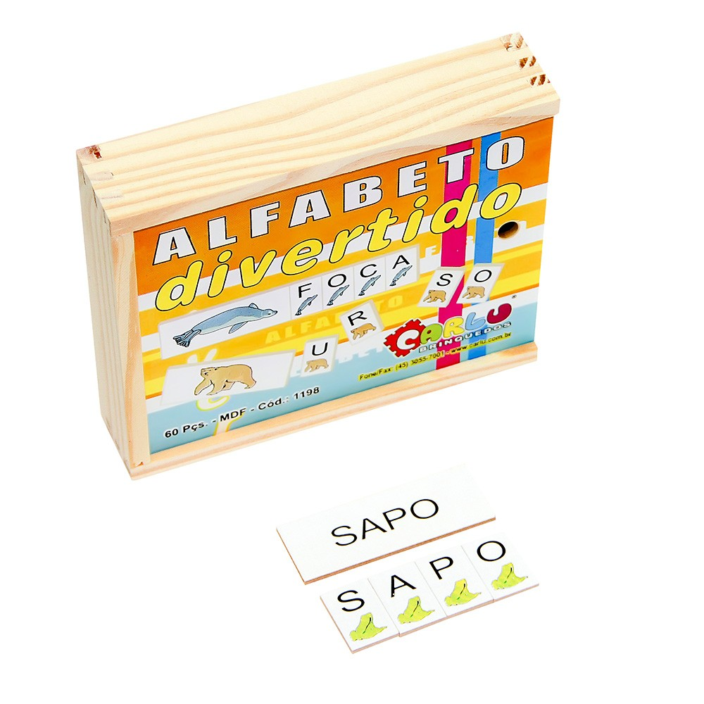 Alfabeto Divertido M.d.f. 60 Peças 2 X 3 Cm  - Alegria Brinquedos