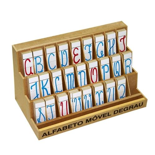 Alfabeto Movel Degrau Cursivo M.d.f. 5 Jogos 130 Pçs  - Alegria Brinquedos