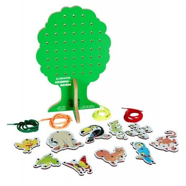 Alinhavos Bichinhos na Árvore em M.D.F. 20 Peças  - Alegria Brinquedos