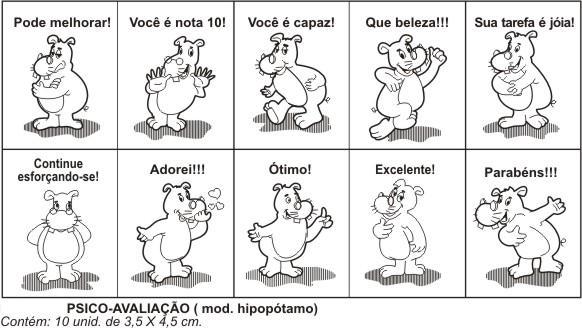 Carimbos Psico Avaliação Hipopótamo  - Alegria Brinquedos