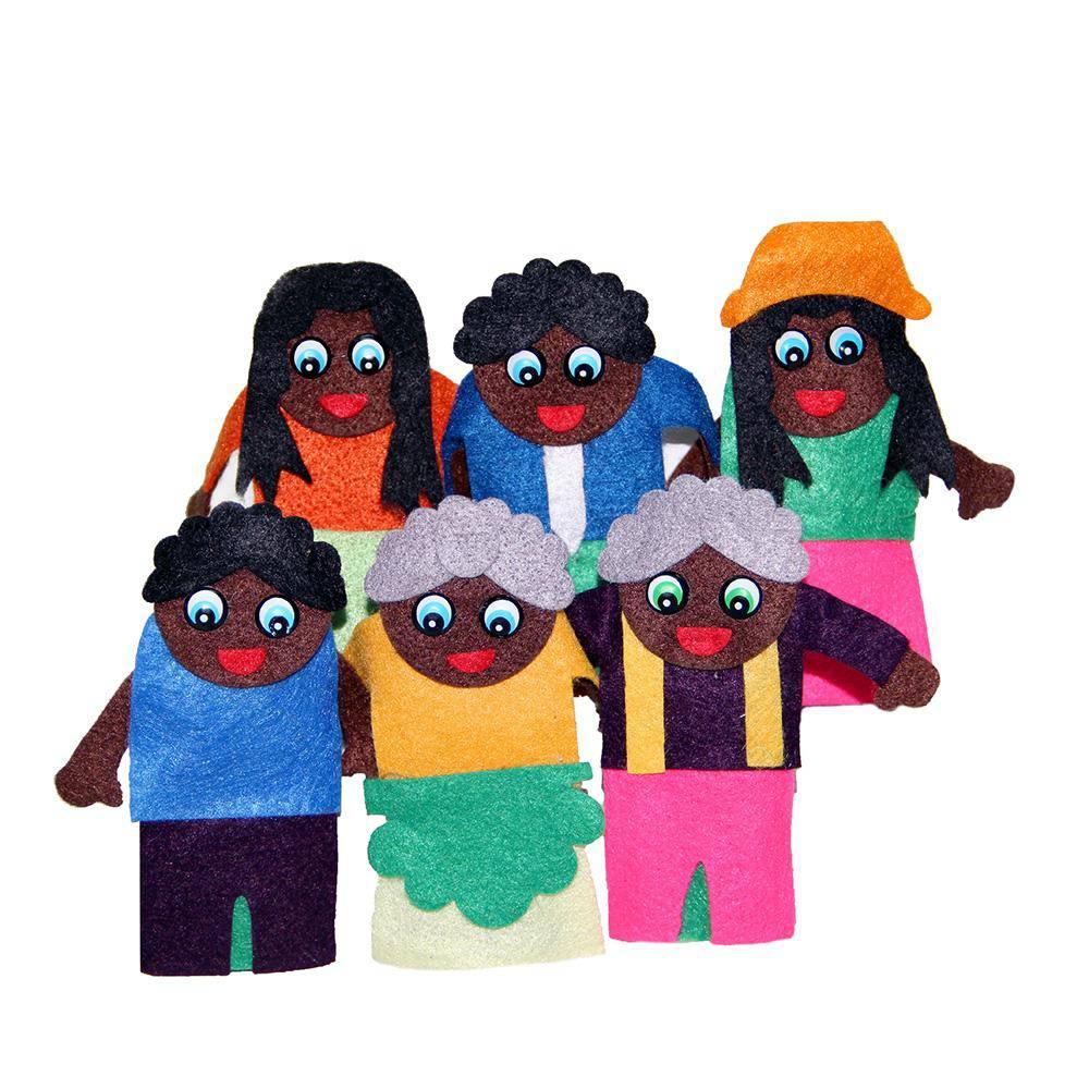 Dedoches Família Negra  - Alegria Brinquedos
