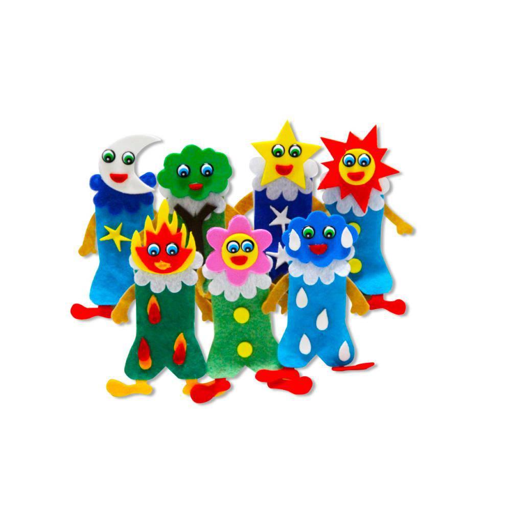 Dedoches Natureza E.v.a. E Feltro C/ 7 Personagens  - Alegria Brinquedos
