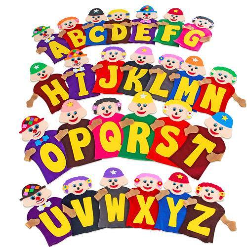 Fantoches da Alfabetização com 26 Personagens  - Alegria Brinquedos