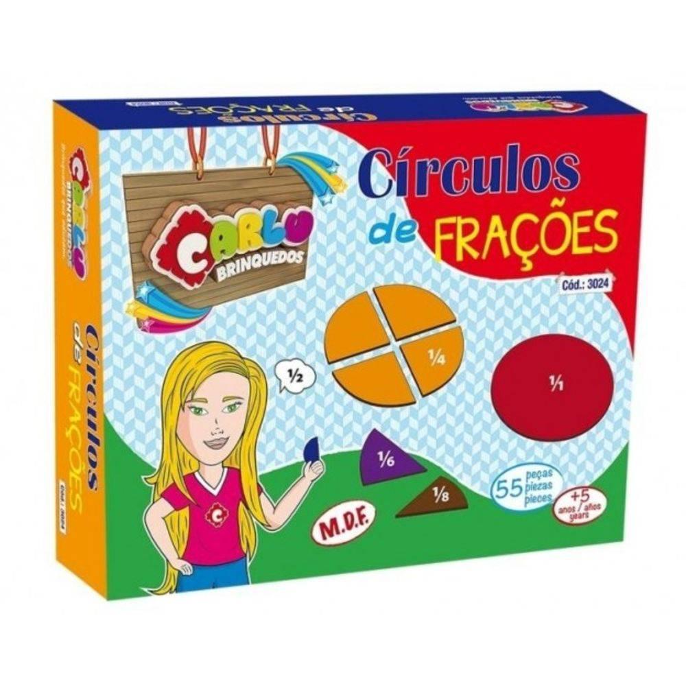 Frações - Círculos de Frações em M.D.F. 55 peças