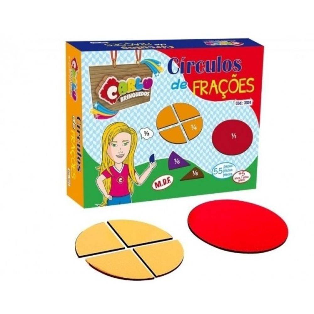 Frações - Círculos de Frações em M.D.F. 55 peças  - Alegria Brinquedos
