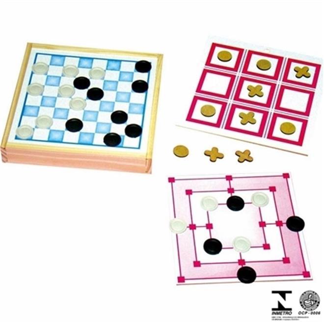 Jogo 3 Em 1 Dama-Trilha-Jogo Da Velha  - Alegria Brinquedos