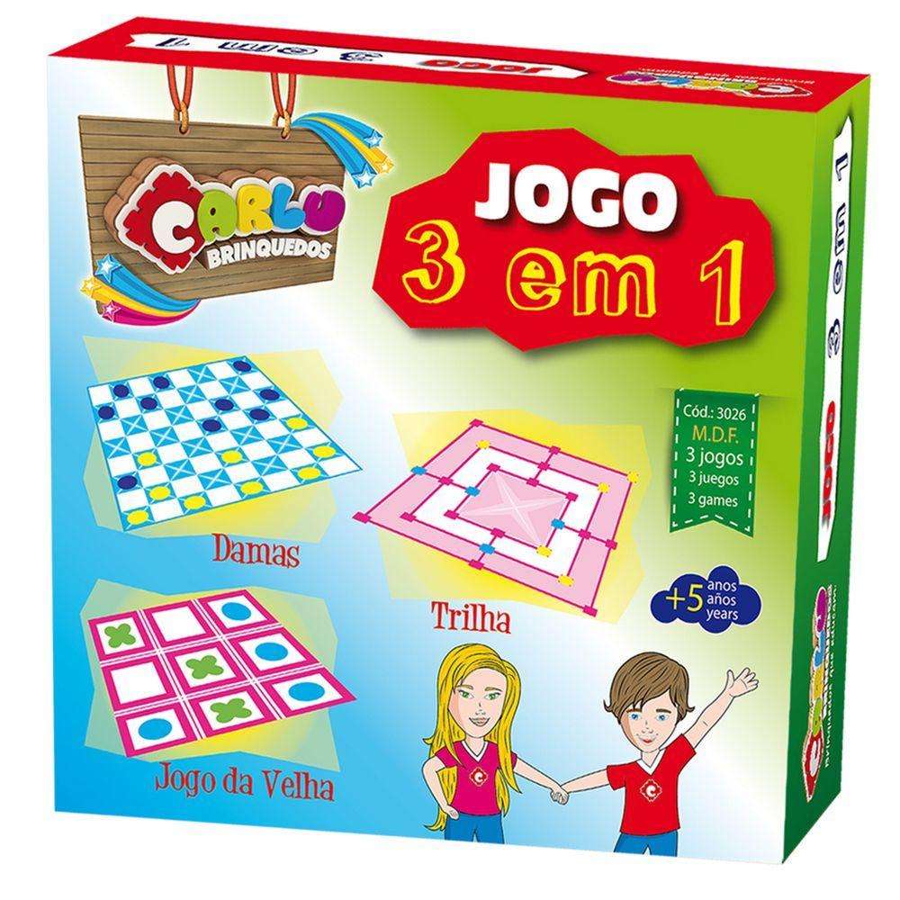 Jogo 3 Em 1 Dama-Trilha-Jogo Da Velha - Cx. De Pap  - Alegria Brinquedos