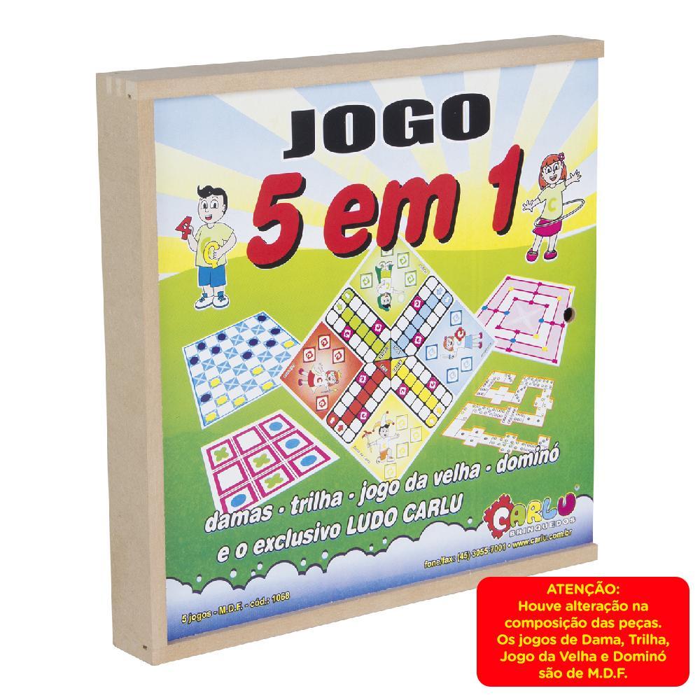 Jogo 5 Em 1 Dama-Dominó-Trilha-Velha-Ludo  - Alegria Brinquedos