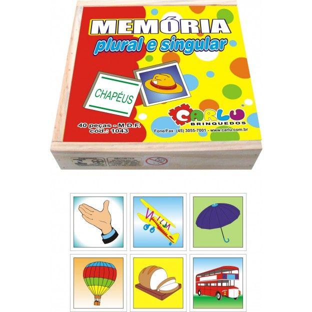 Jogo de Memoria Plural e Singular  - Alegria Brinquedos