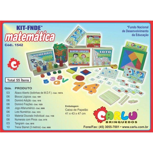 Kit FNDE Matemática com 55 Itens  - Alegria Brinquedos
