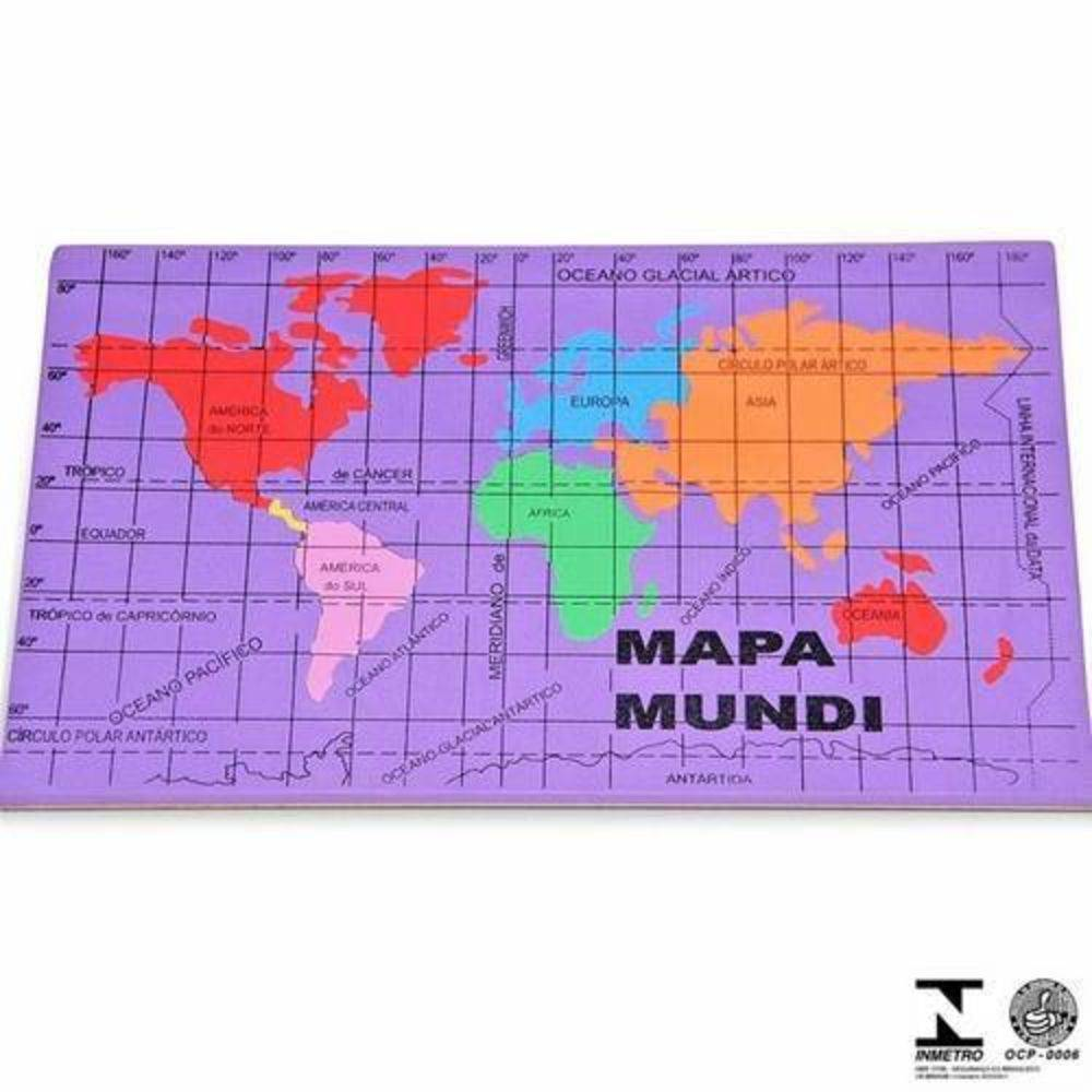 Mapa Mundi E.v.a. 22,5 X 37 Cm  - Alegria Brinquedos