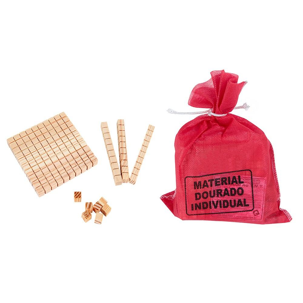 Material Dourado 111 Peças em Madeira  - Alegria Brinquedos