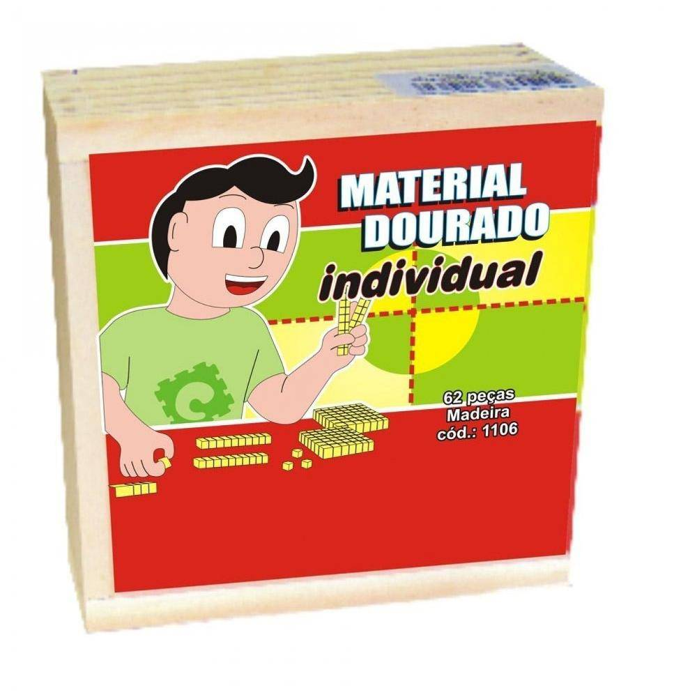 Material Dourado Individual 62 Pc Em M.d.f.  - Alegria Brinquedos