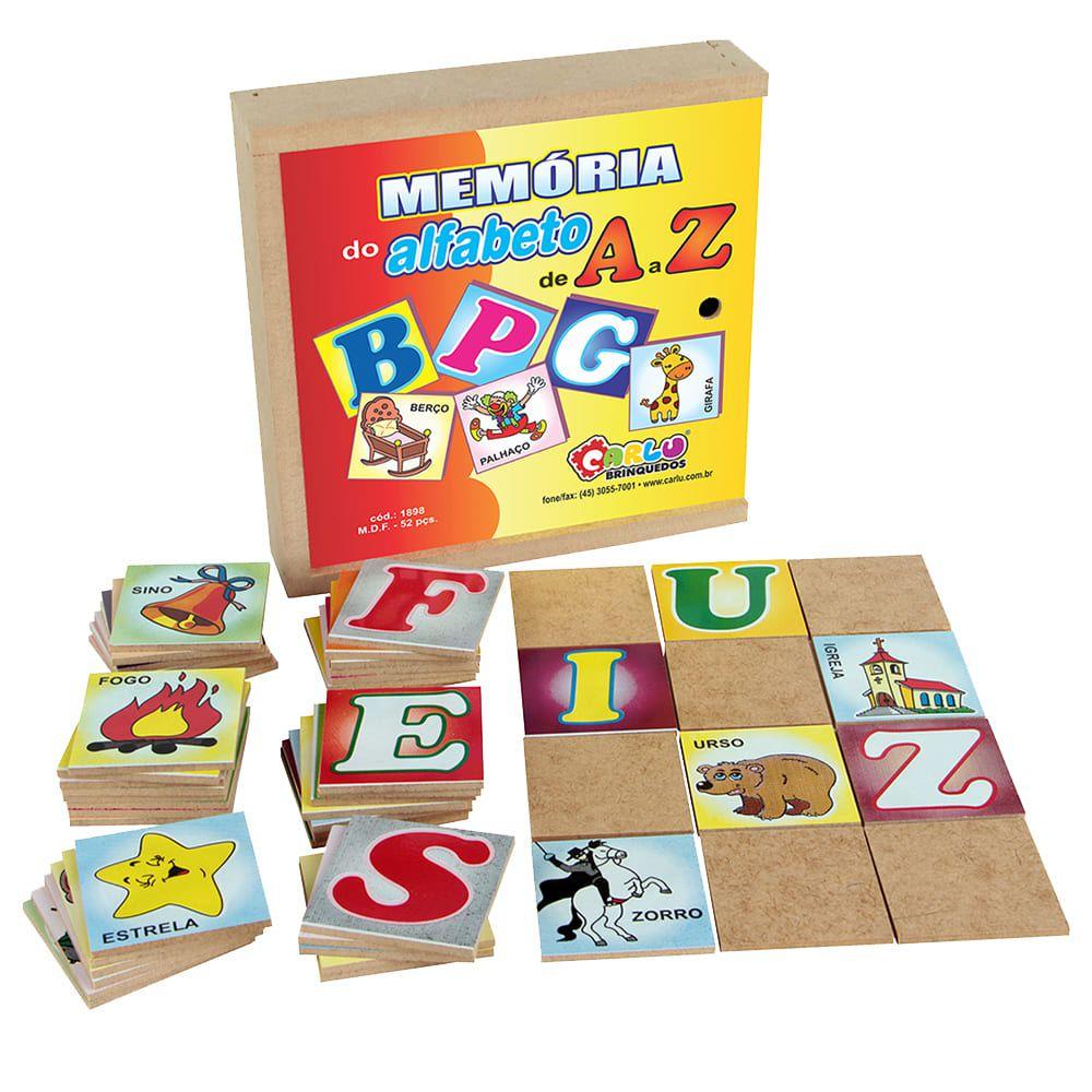 Memória Do Alfabeto De A a Z 52 Pc Cx Madeira  - Alegria Brinquedos