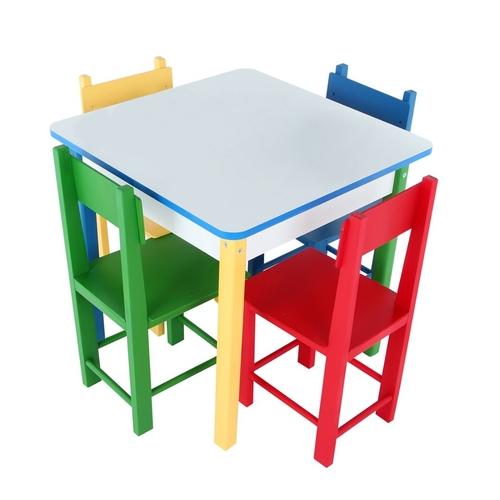 Mesa Com 4 Cadeiras De Madeira  - Alegria Brinquedos