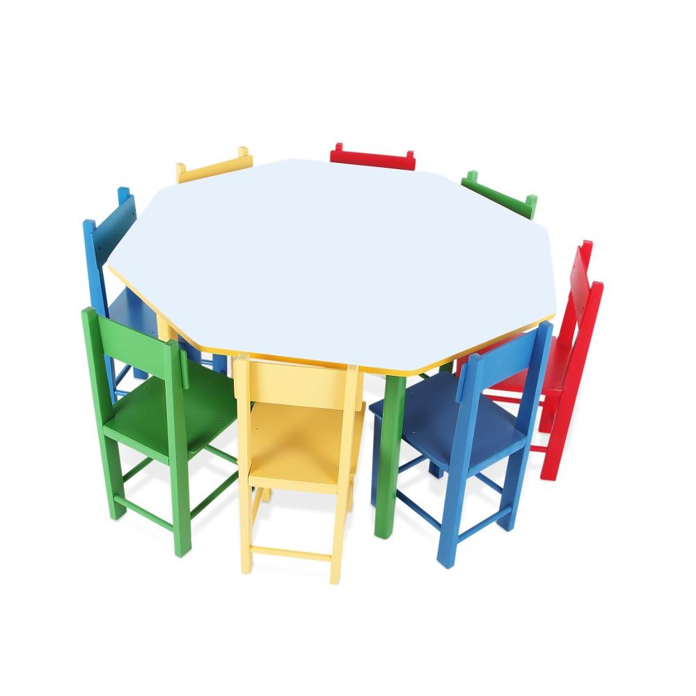 Mesa Oitavada com 8 Cadeiras  - Alegria Brinquedos