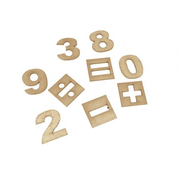 Numerais e Sinais 35 Peças em M.D.F.  - Alegria Brinquedos