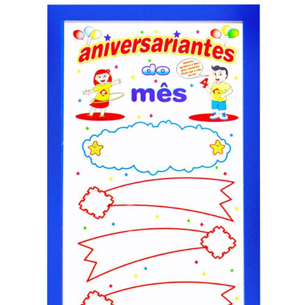Painel Aniversariantes Do Mes M.d.f. 36,5x89x0,9  - Alegria Brinquedos