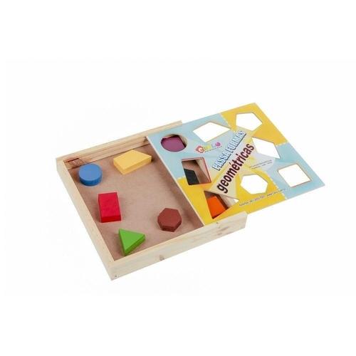 Passa Formas Geométricas - MDF - 8 PC - CAIXA DE MADEIRA  - Alegria Brinquedos