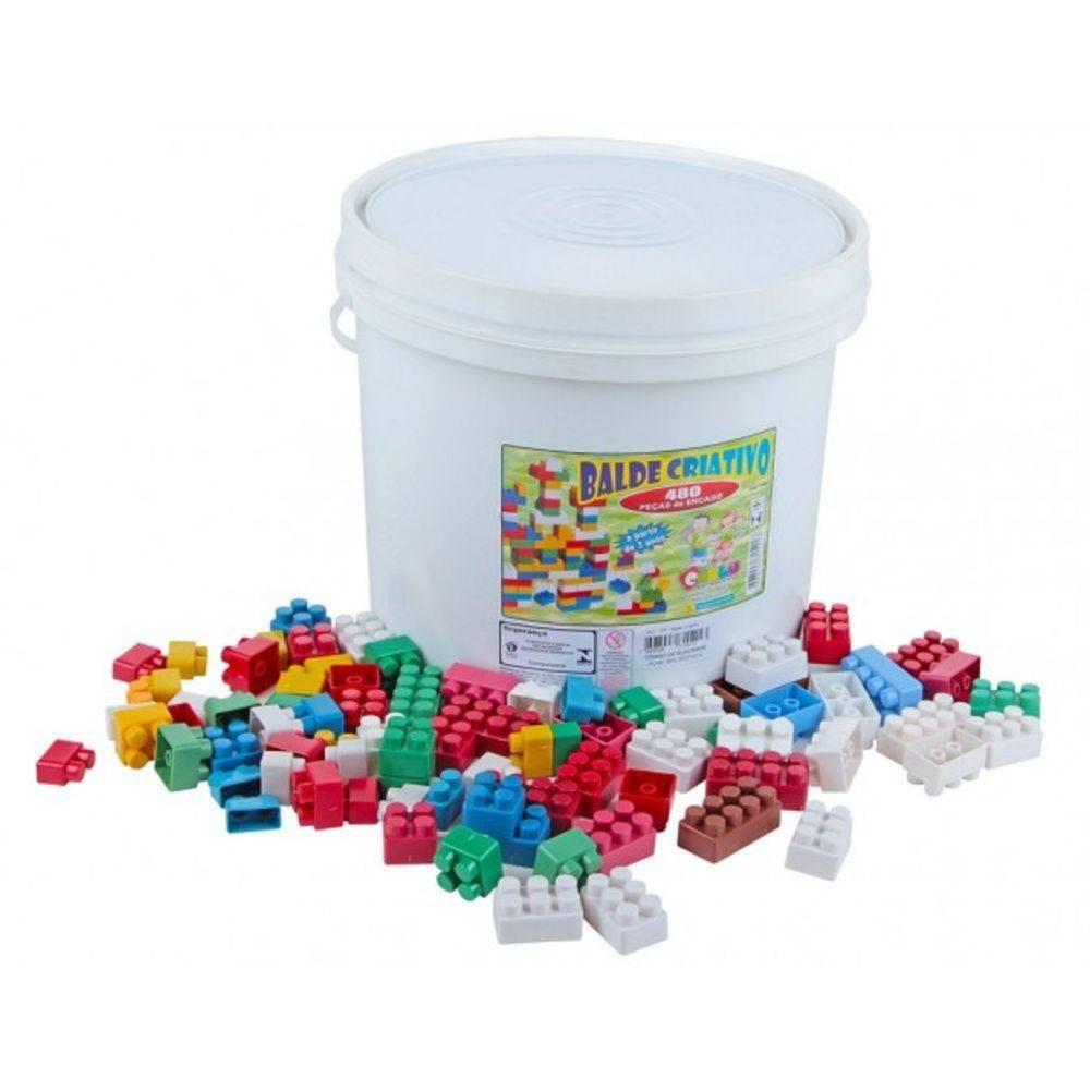 Peças Para Encaixe Balde Criativo 480 Peças  - Alegria Brinquedos