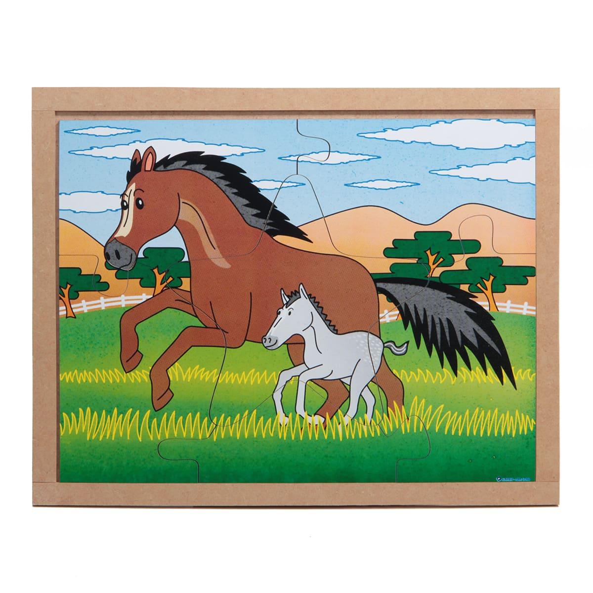 Quebra-Cabeça Animais E Filhotes - Cavalo  - Alegria Brinquedos