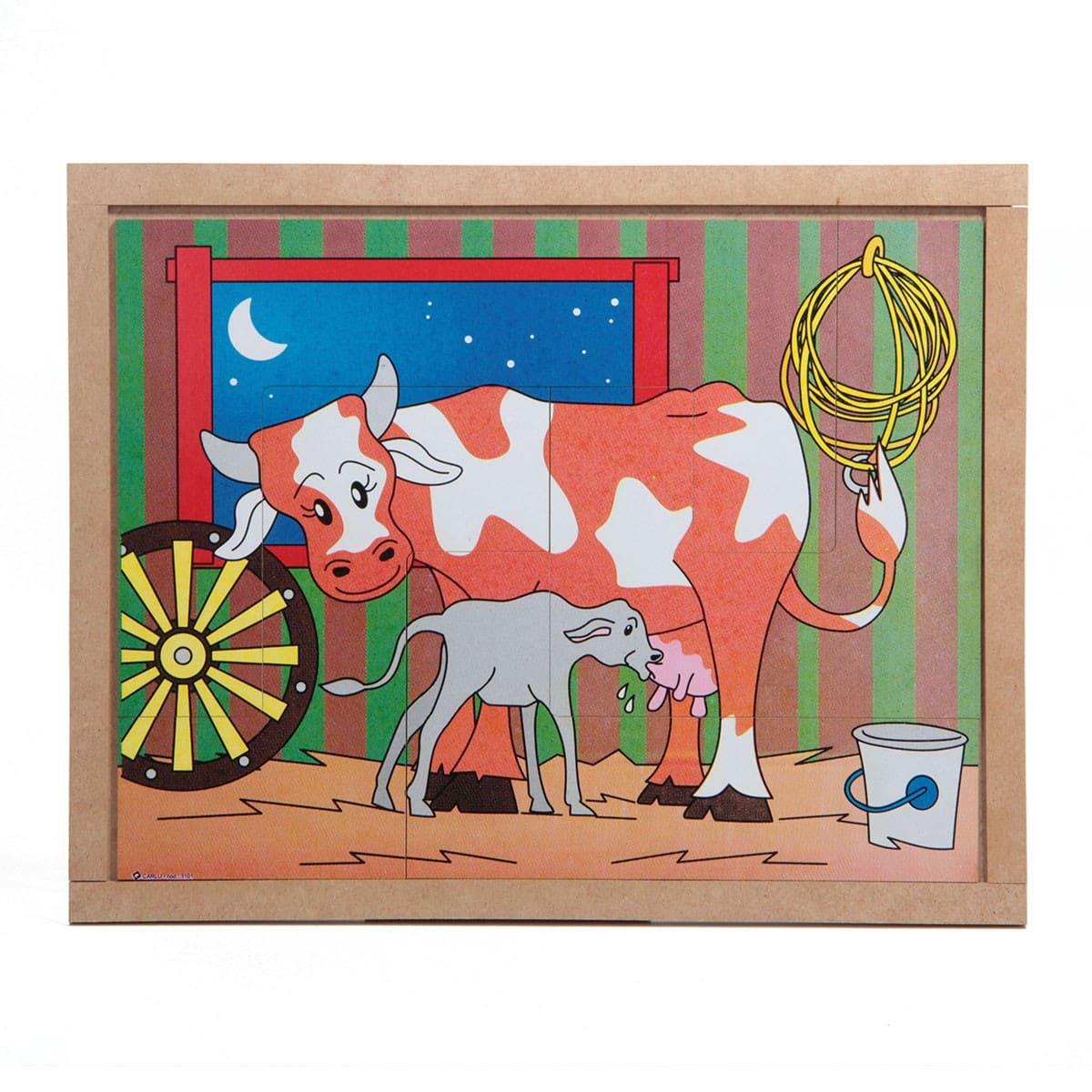 Quebra-Cabeça Animais E Filhotes - Vaca Base Mdf 4