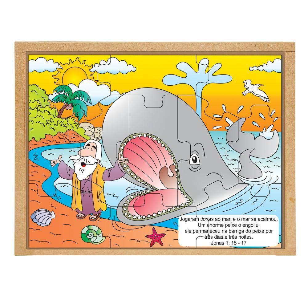 Quebra-Cabeça Bíblico Jonas e a Baleia  - Alegria Brinquedos