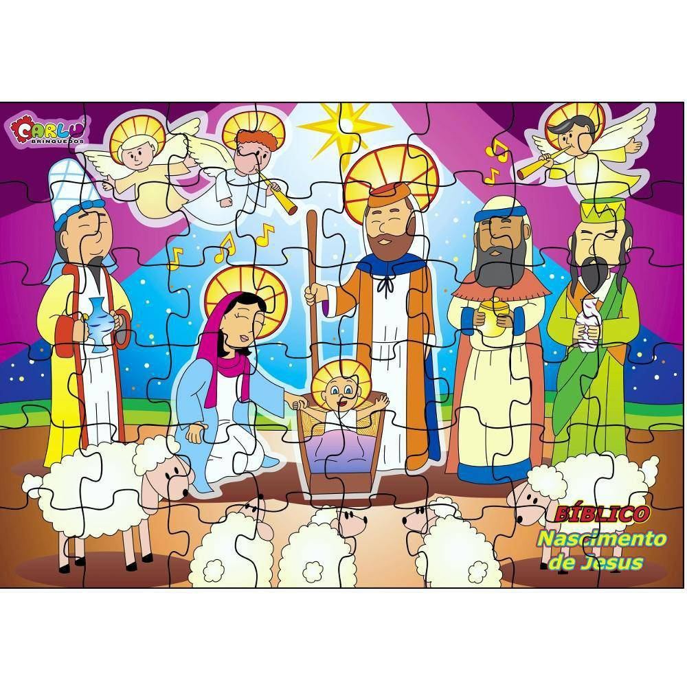 Quebra-Cabeça Bíblico Nascimento De Jesus 48 Pc  - Alegria Brinquedos