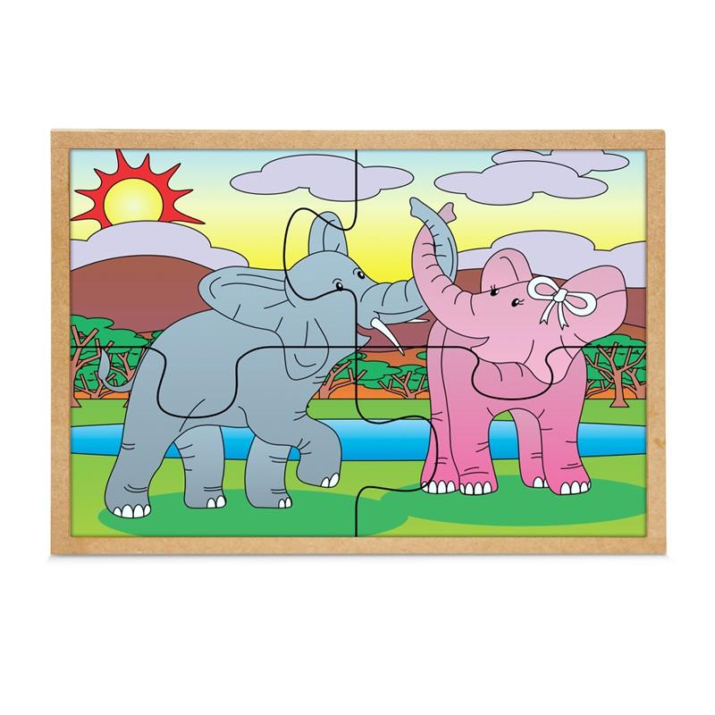 Quebra-Cabeca Casal Elefantes 4 Pc 30 X 23 Cm  - Alegria Brinquedos