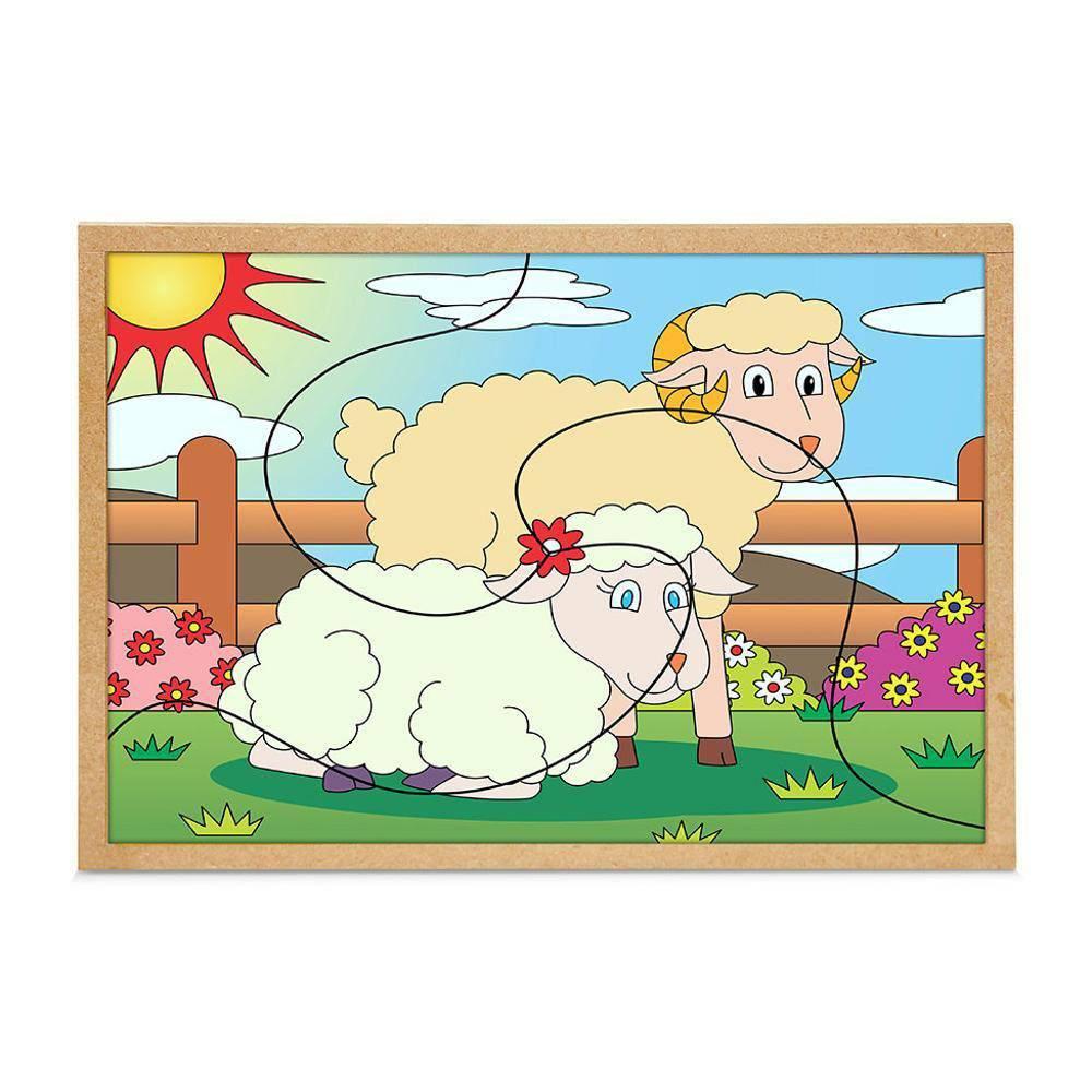 Quebra-Cabeca Casal Ovelhas 3 Pc 30 X 23 Cm  - Alegria Brinquedos