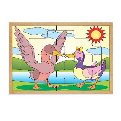 Quebra-Cabeca Casal Patos 8 Pc 30 X 23 Cm  - Alegria Brinquedos