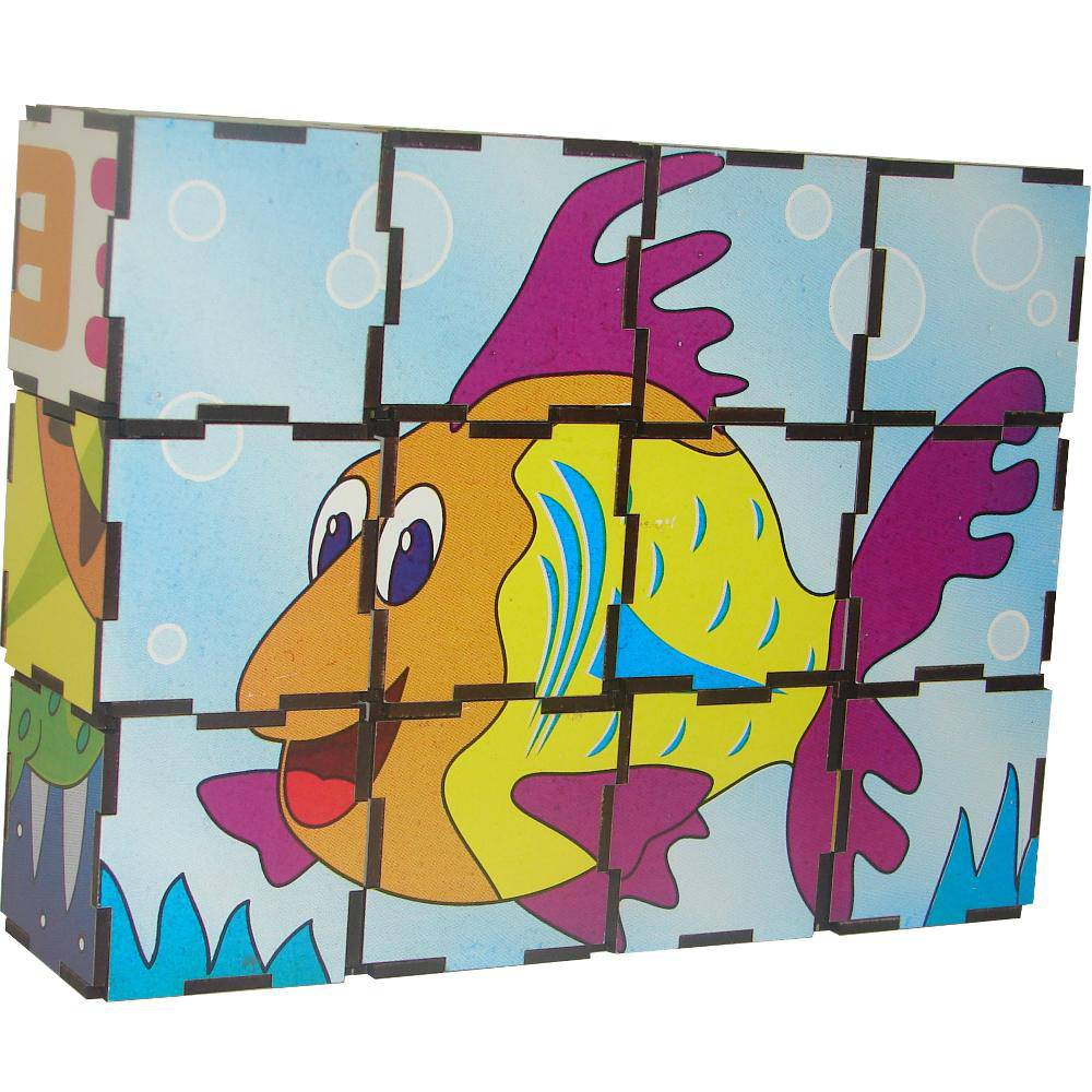 Quebra-Cabeça Cubos Animais Vertebrados 22x17x5,5