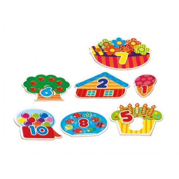 Quebra-Cabeca de 1 ao 10 em M.D.F.  - Alegria Brinquedos