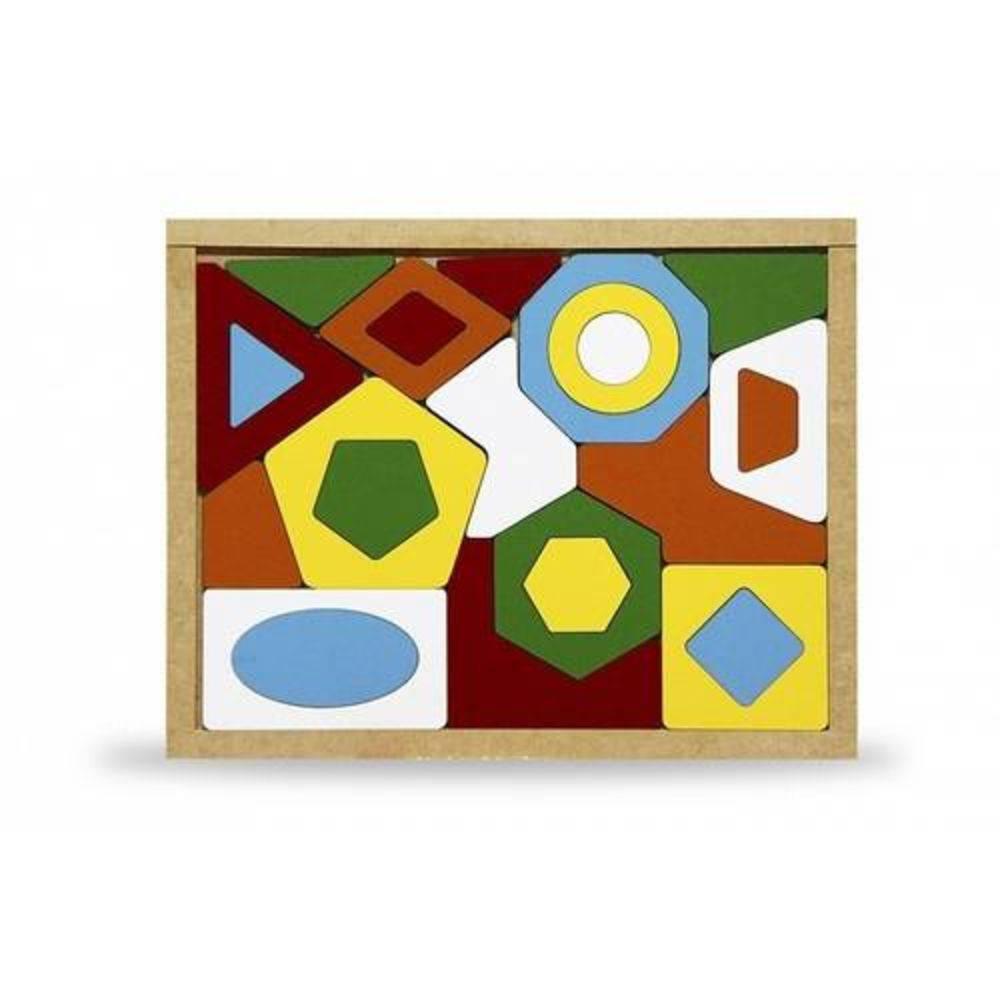 Quebra-Cabeca Geometrico Em M.d.f. 33,5 X 26,5 Cm  - Alegria Brinquedos