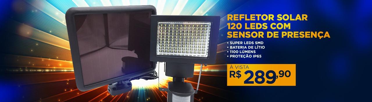 Refletor Solar 120 Leds com Sensor de Presença
