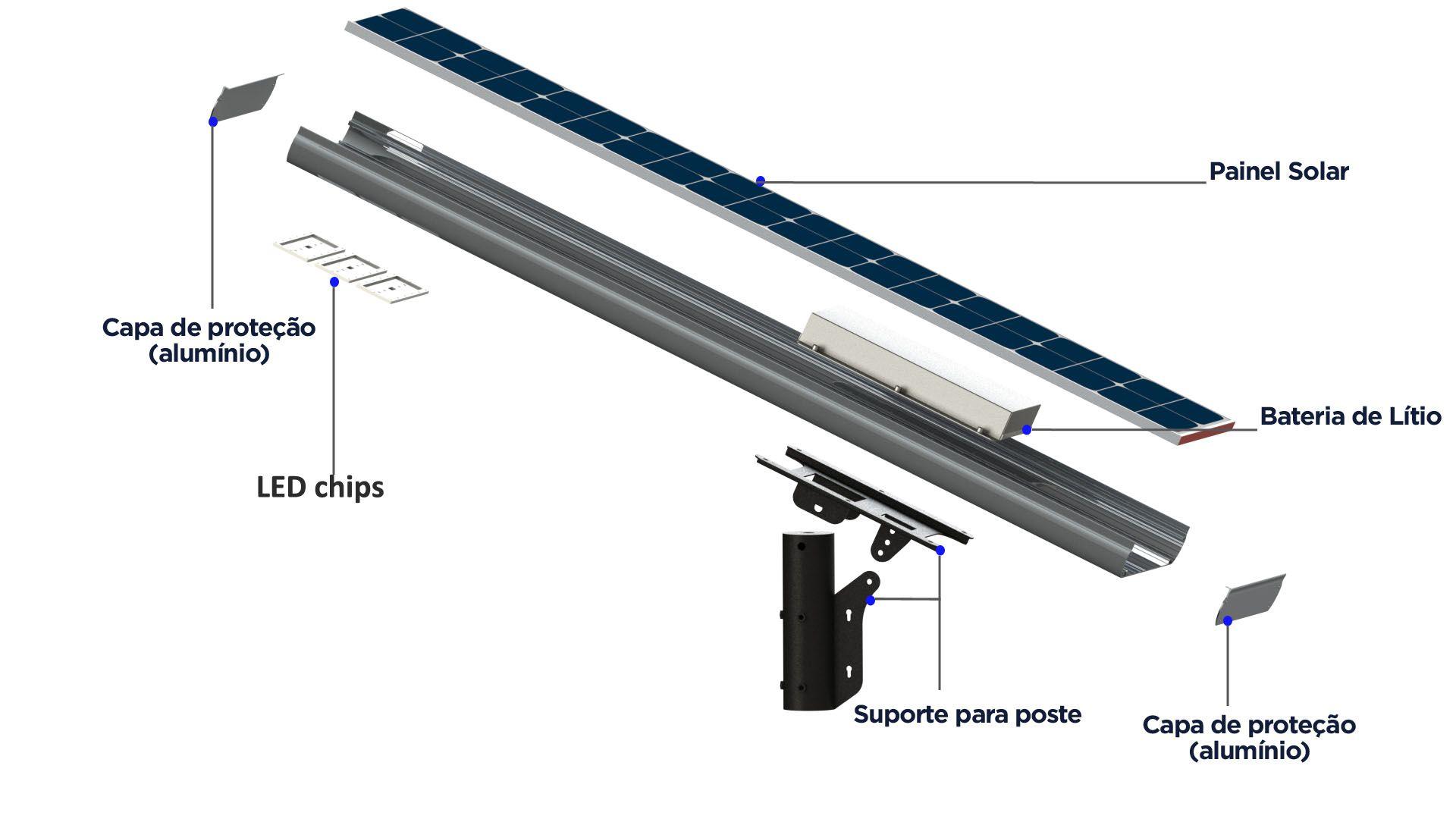 Luminária Solar Pública Eiffel Integrada 60W para Postes 5 a 6 mt