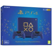 CONSOLE SONY PLAYSTATION 4 SLIM 500GB AZUL DAYS OF PLAY EDITION COM 2 CONTROLES