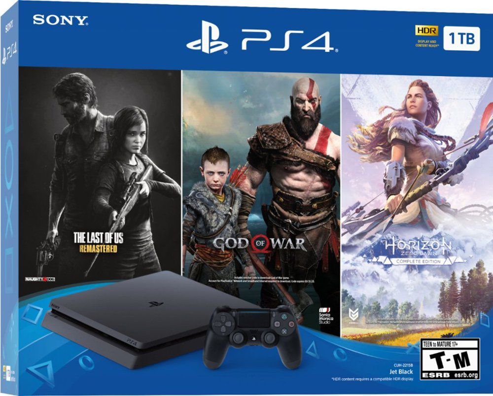Console PlayStation 4 1TB Bundle Holiday : The Last of Us: Remastered, God of War, Horizon Zero Dawn