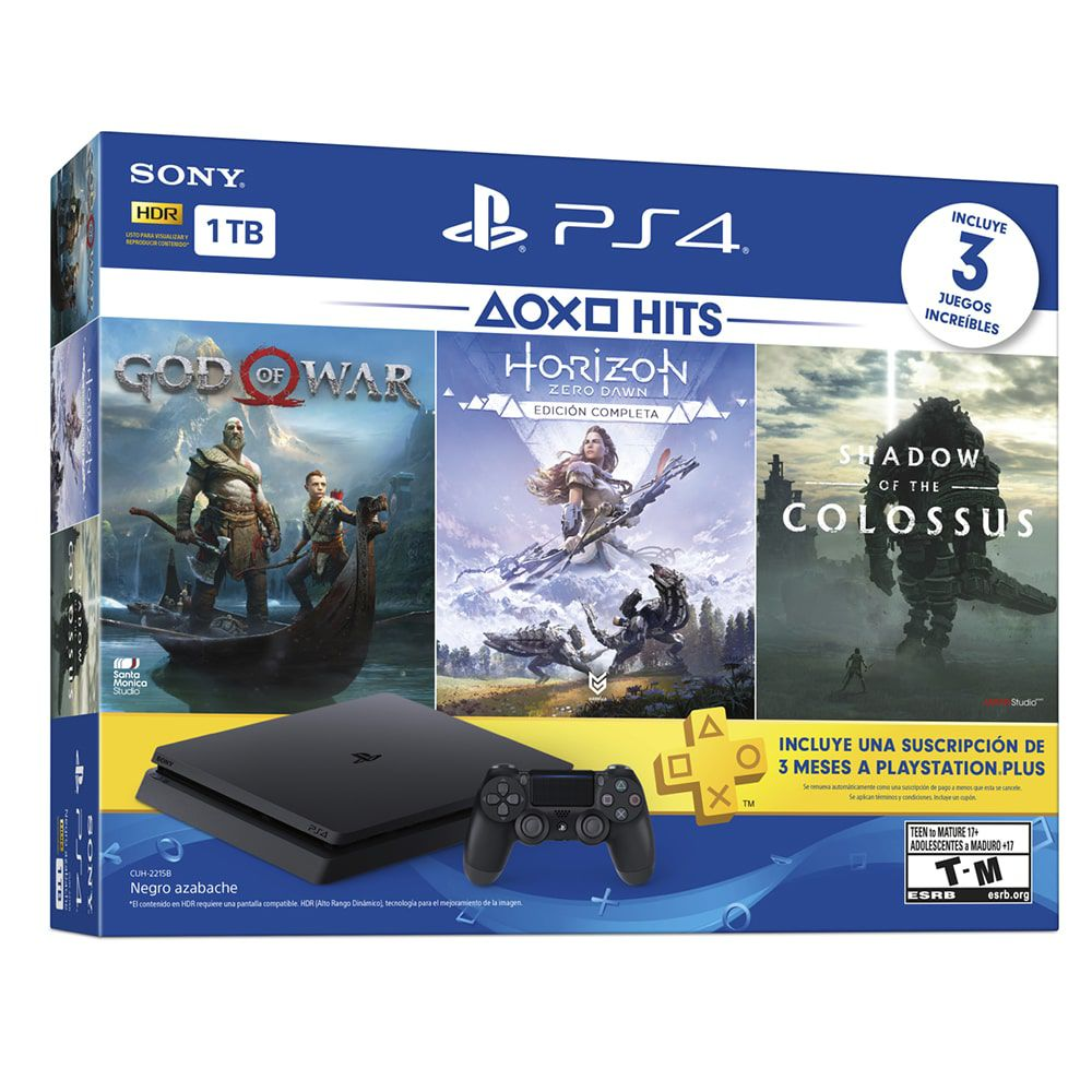 Console Sony PlayStation 4 1TB Slim Hits Bundle (God Of War, Horizon Zero Dawn Complete Edition, Shadow of the Colossus)