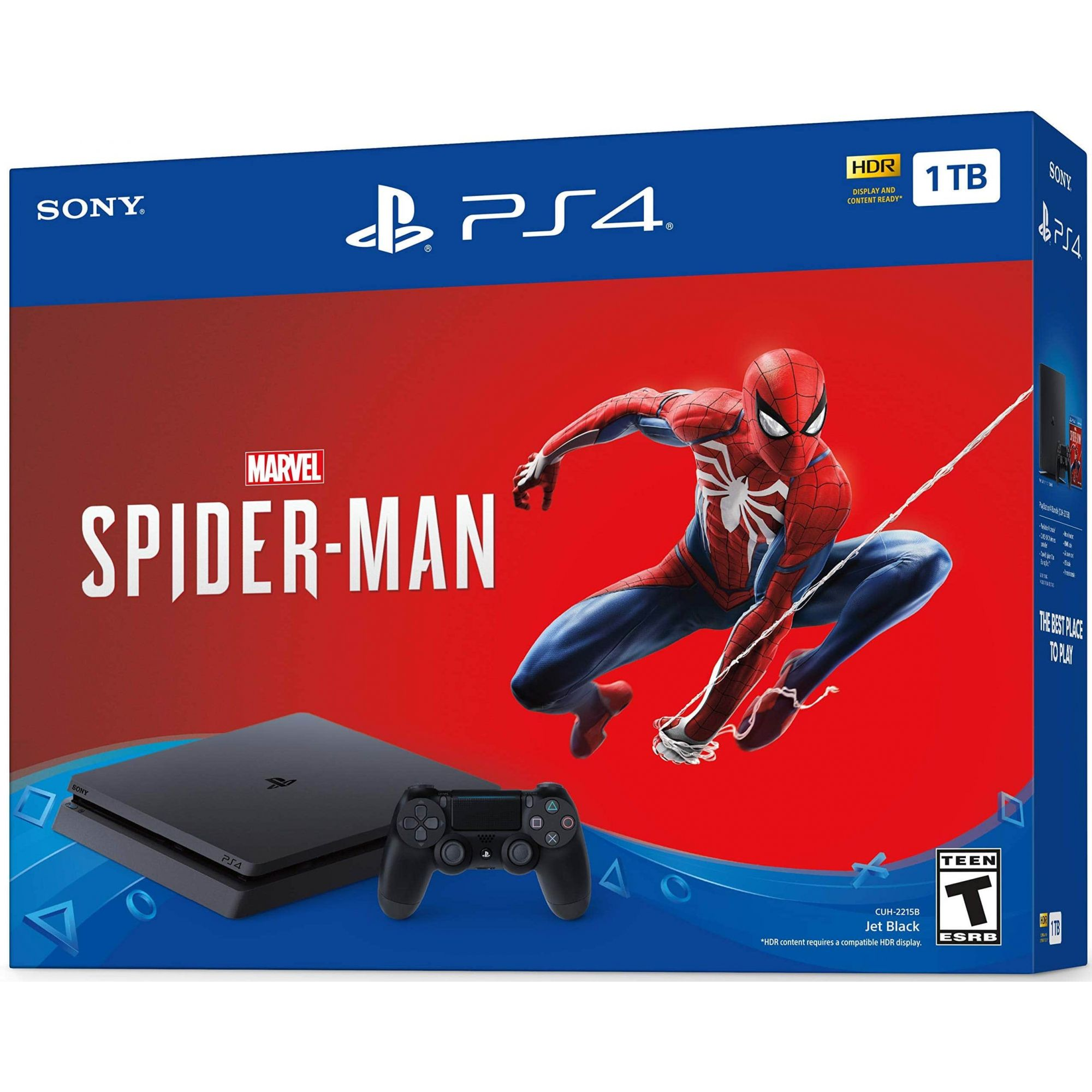 Console Sony PlayStation 4 Slim 1TB HDR + Jogo Spider-Man - Preto