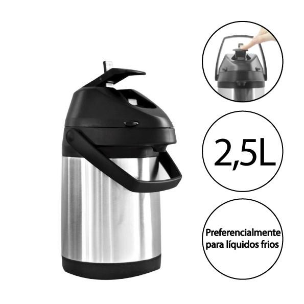 Garrafa Térmica Inox 2,5 L Quente e Frio Pressurizada Com Alavanca