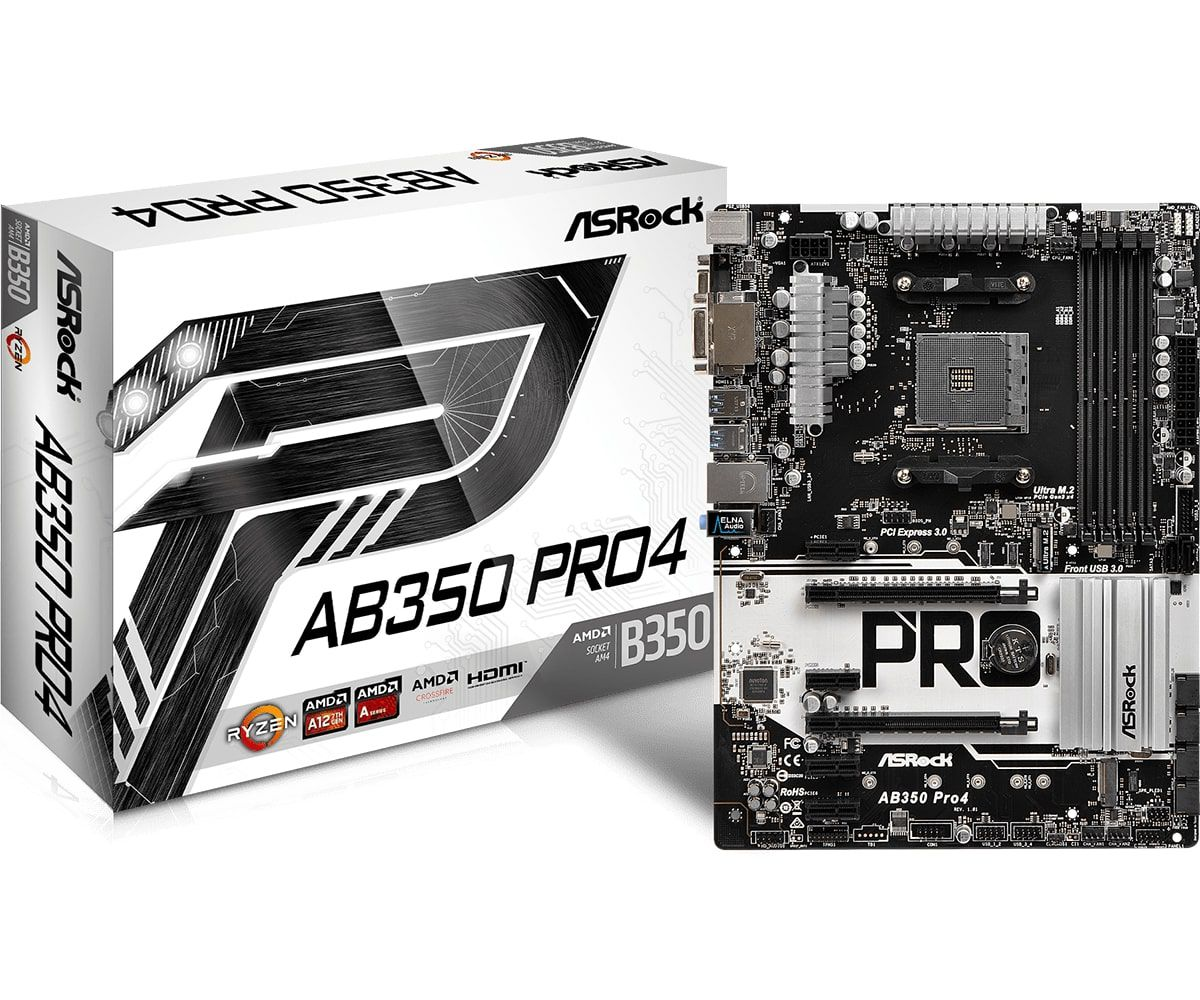 Kit Gamer Placa-Mãe ASRock AM4 AB350 PRO4 DDR4 + Ryzen AMD AM4 R7-1700X