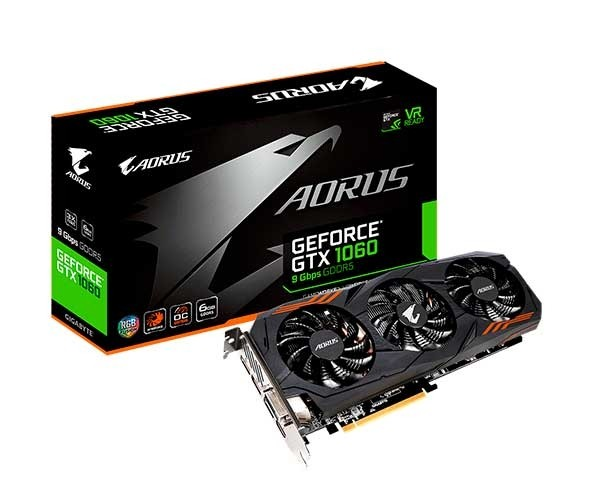 Placa de Vídeo Gigabyte AORUS GeForce GTX 1060 6GB, GDDR5, PCI-E, DP, HDMI, DVI-D