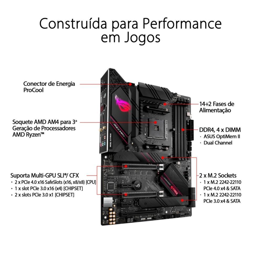 Placa Mãe Asus ROG Strix B550-E Gaming, AMD AM4, ATX, WIFI