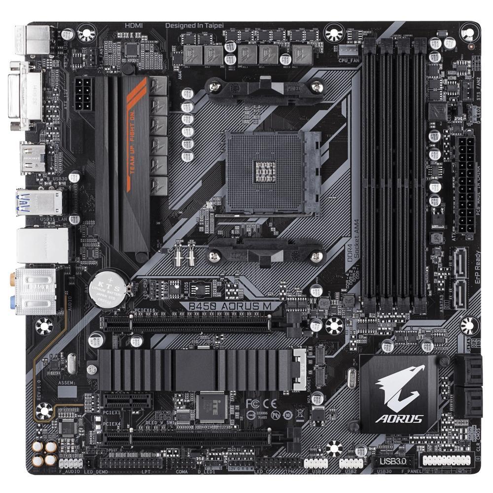 Placa Mãe Gigabyte Aorus B450 Aorus M, AM4, mATX, DDR4